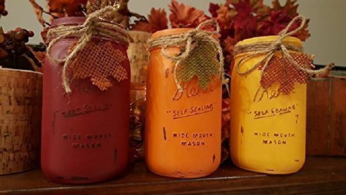 Rustic Red, Pumpkin Orange and Saffron Yellow Painted and Distressed Halloween and Fall Mason Jars - Quart Mason -