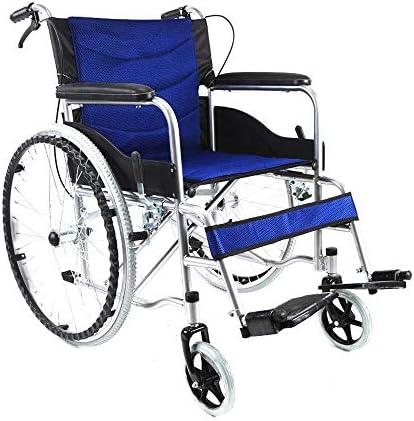 ZXCMNB Rollstühle Klapp-Rennstuhl Mit Handbremsen, Sitzbreite 45cm for Drinnen Oder Draußen (Color : Blue)