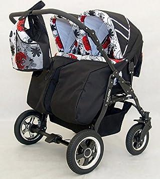 Carro gemelar 3en1. 2 capazos + 2 sillas + 2 grupo 0 + accesorios (rojo+negro)