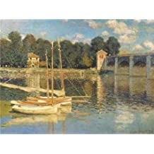 'The Bridge at Argenteuil,1874 By Claude Monet' oil painting, 18x24 inch / 46x61 cm ,printed on Perfect effect Canvas ,this Amazing Art Decorative Canvas Prints is perfectly suitalbe for Kids Room artwork and Home decoration and Gifts
