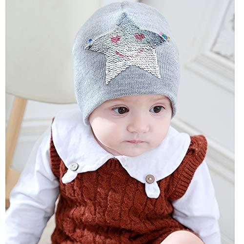Sattern Hiver Chapeaux Ahaha Tricotés Sequin Bonnet Pour Gris Filles Avec Chapeau z66qwx5f