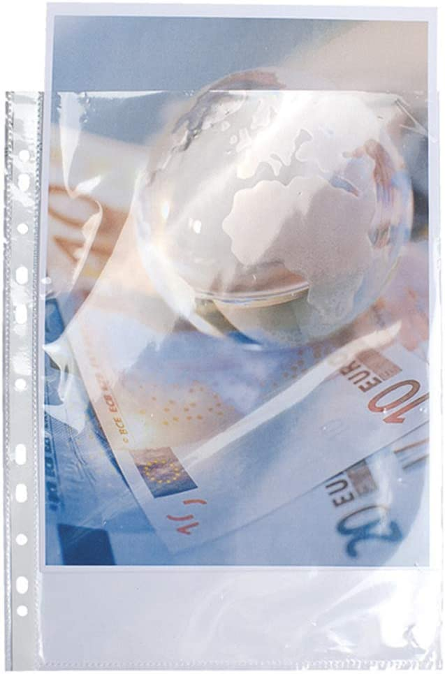 100er Pack kristall Exacompta 5900E Packung mit 100 Prospekth/üllen, glatt, gelocht, aus stabilem PP 90/µ, f/ür DIN A4, 21 x 29,7 cm