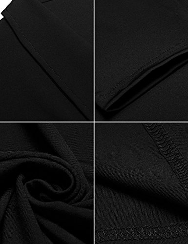 ELESOL V Line Neck A Half Women's Flared Black Swing Pleated Dress Sleeve Vintage xfxqp1
