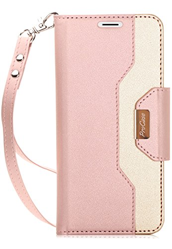ProCase Galaxy S9 Wallet Case, Flip Kickstand Case with Card Holders Mirror Wristlet, Folding Stand Protective Book Case Cover for 5.8 Inch Samsung Galaxy S9 (2018 Release) -Pink