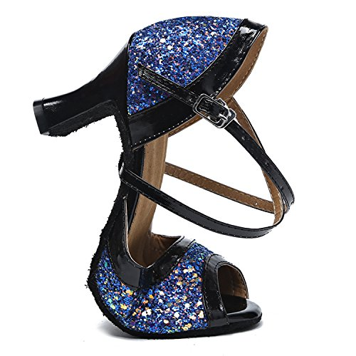 CFP 8036 Womens Classic Wedding Party Standard Training Adjustable Buckle Glittering Bright Dress Vogue Rumba Peep Toe Fresh Latin Soft Dance Shoes Block Heel Blue(Outdoor Sole) GjFAEFHL