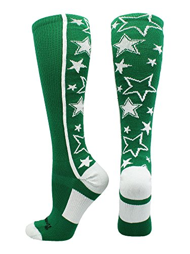 MadSportsStuff Crazy Socks with Stars Over the Calf Socks (Kelly Green/White, Large) ()