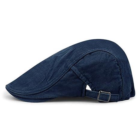 3871e4bf83c Amazon.com  Hats   caps MAZHONG The Simple Fashion Denim Beret Men and  Women Outdoor Trip Cap Female Sports Leisure Forward Hat (Color   B)   Garden   ...