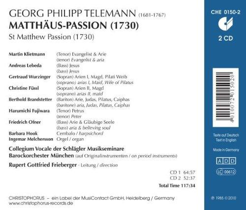 Telemann: La Pasion Segun San Mateo / Collegium Vocale Schlag, Orq. Barroca De Munich - Frieberger: Rupert Gottfried Orquesta Barroca De Munich Collegium ...