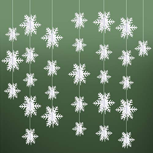 BTNOW 2 Pack 19.7 Feet/236.2 Inches White 3D Christmas Paper Snowflake Hanging Garland Decorations -