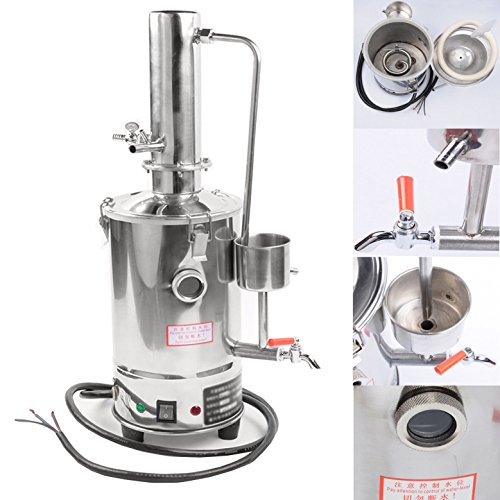 YUEWO 3L Normal Type 110V New 304 Stainless Dental/Home/Lab Water Filter Purifier Electric Distiller Moonshine Still w/Heated Pipe Panel
