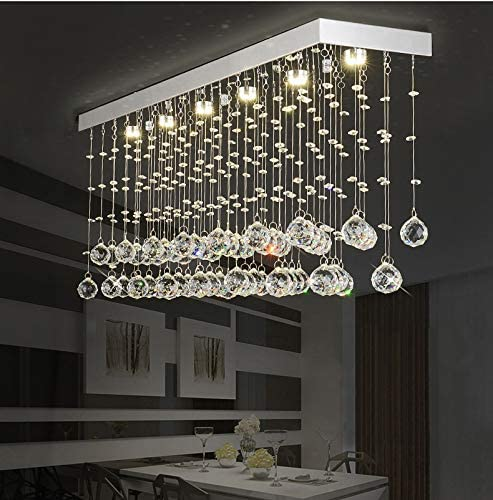 Moooni L40 Contemporary Rectangle Crystal Chandelier Modern Dining Room Ceiling Light Fixture Rectangular Raindrop Design Chandeliers for Dining Room Kitchen