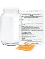Organic Kombucha SCOBY with Starter Tea and 1 Gallon Glass Kombucha Jar - Home Brewing and Fermenting Kit with Cheesecloth Filter, Rubber Band and Plastic Lid - By Kitchentoolz