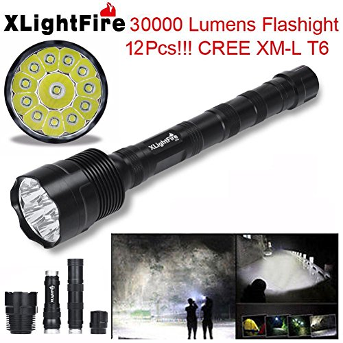 TOPITEMS Super 30000 Lumens 12x CREE XML T6 5 Mode 18650 Super Bright LED Flashlight