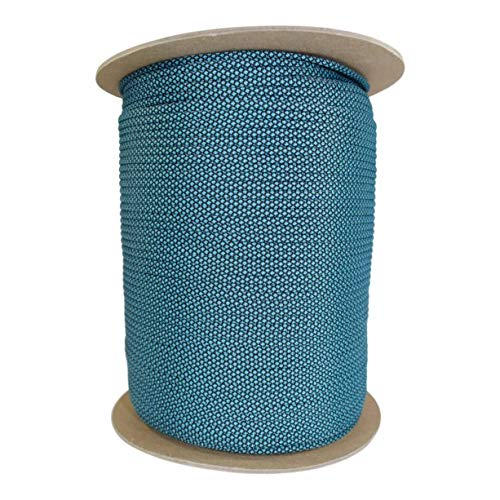 SGT KNOTS Paracord 550 Type III 7 Strand - 100% Nylon Core & Shell 550 lb Tensile Strength Utility Parachute Cord for Crafting, Tie-Downs, Camping, Handle Wraps (Neon Turquoise Diamonds - 25 ft)