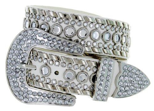 Western Cowgirl Bling Belt with Rhinestone Buckle Set and Studded Strap (32, White)