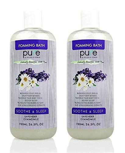 PURE Aromatherapy Lavender and Chamomile Bubble Bath for Women & Kids, Organic Bubble Bath for Kids Tear Free - Nourishes & Soothes, XL Lavender Bubble Bath Hypoallergenic & Sulfate Free Bubble Baths