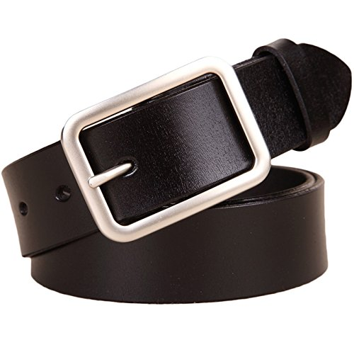 Ayli Women's Classic Buckle Jean Belt, Handcrafted Genuine Leather Belt, Free Gift Box, Black, Fits Waist 28