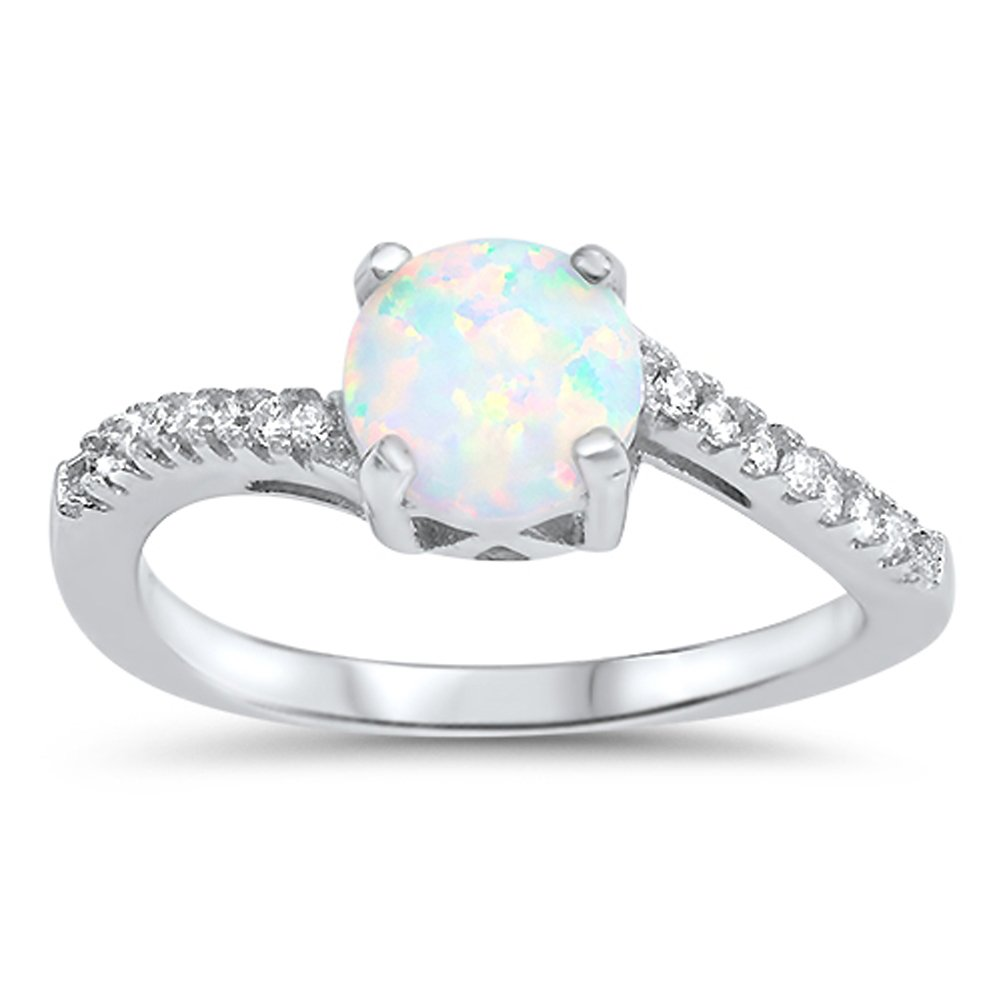 Round White Simulated Opal Cute Promise Ring New .925 Sterling Silver Band Size 7