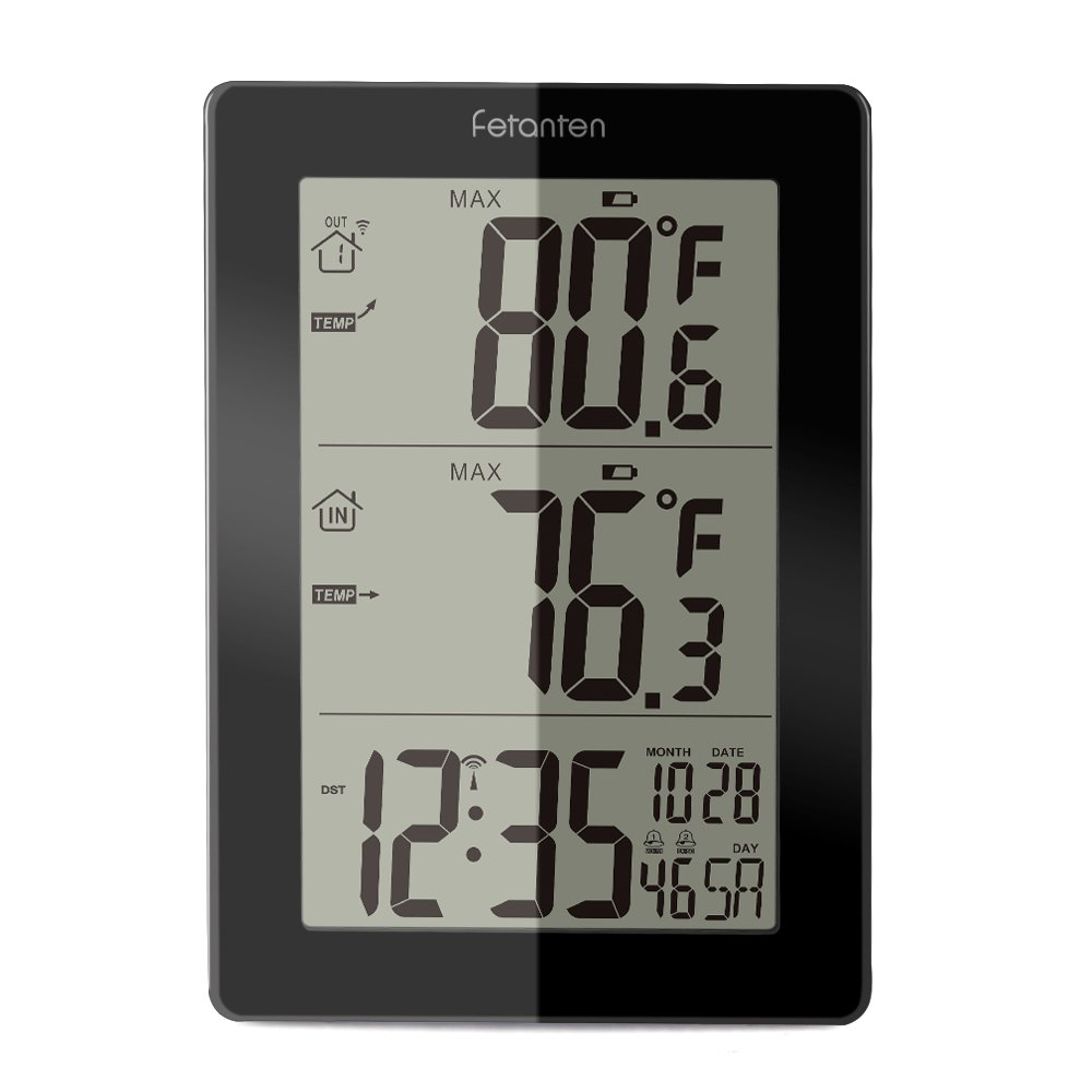 Fetantenclock Wireless Weather Station with Outdoor Sensor, Digital Indoor Outdoor Thermometer