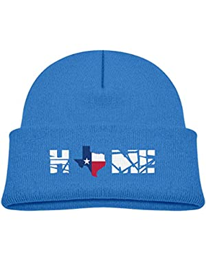 Kids Knitted Beanies Hat Texas Home State Flag Map Winter Hat Knitted Skull Cap for Boys Girls Black