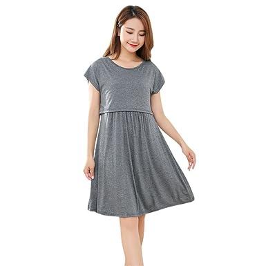fb7f93aa1ab3 Brezeh Pregnant Dress,Womens Mother Summer Short Sleeve Dress Ladies O Neck  Casual Maternity Nursing