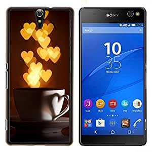 Amo corazones de la Copa Oro Luces- Metal de aluminio y de plástico duro Caja del teléfono - Negro - Xperia C5 E5553 E5506 / C5 Ultra