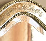 Shaped Oval Etched Glass Wall Mirror | Romantic Cottage Vanity