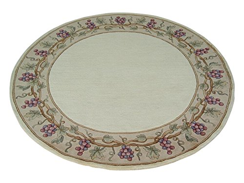 KAS Oriental Rugs Emerald Collection Grapes Border Round Area Rug, 5' x 6