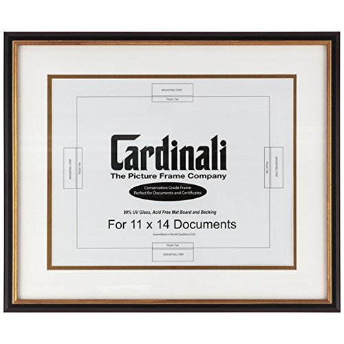 (Cardinali Diploma Frame - Archival University College Graduation High School Diploma, Document, Certificate Frame Glass & Hanging Hardware - Black & Gold - 11 x14
