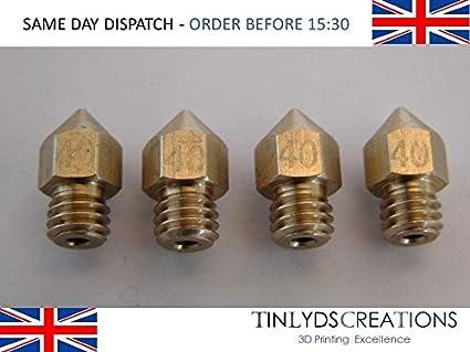 4 x MK8 extrusora boquillas CTC, Anet A8, RepRap, 1,75 mm, 0.4 mm ...