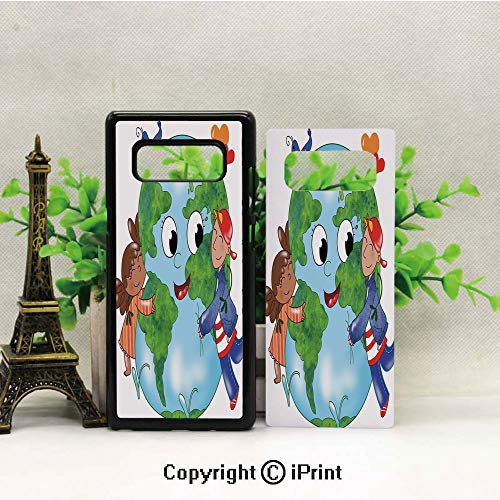 - Cell Phone Case Compatible Samsung Galaxy Note 8,Two Cute Kids Hugging Happy Planet Earth Bird and Hearts Embracing in Cartoon Style Decorative Heavy Duty Protection Shockproof Slim Fit Case Cover fo
