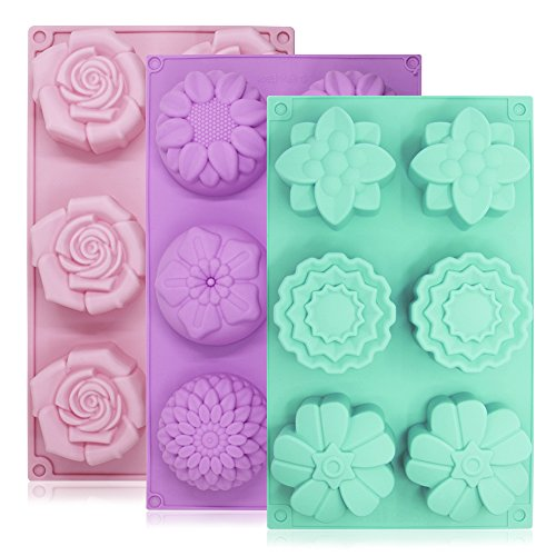 - 6-Cavity Silicone Flower Shape Cake Molds, YuCool 3 Packs Fondant Shape Decorating Ice Cube Trays for Homemade Cake Chocolate Cupcake - Purple Green Pink