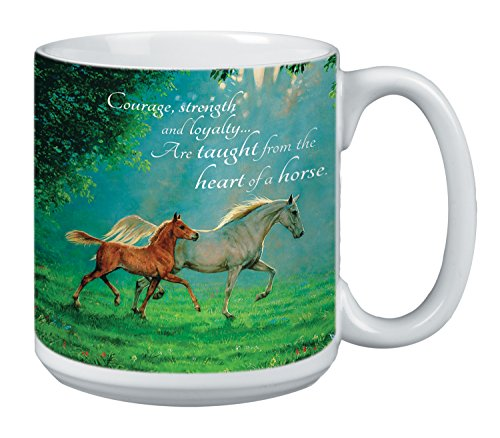 Christmas Tree Jumbo Cup (Horse Lover Extra Large Mug, 20-Ounce Jumbo Ceramic Coffee Cup, Courage, Strength, Loyalty Themed Horses - Horse Gift (XM29858) Tree-Free Greetings)