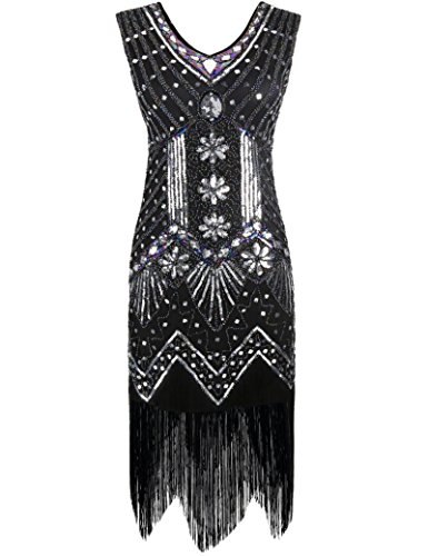 PrettyGuide Women's 1920s V Neck Beaded Sequin Art Deco Gatsby Inspired Flapper Dress L Black (Twenties Dress)