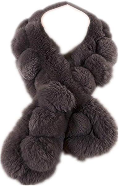 Rex Rabbit Fur Neck Warmer In Brown