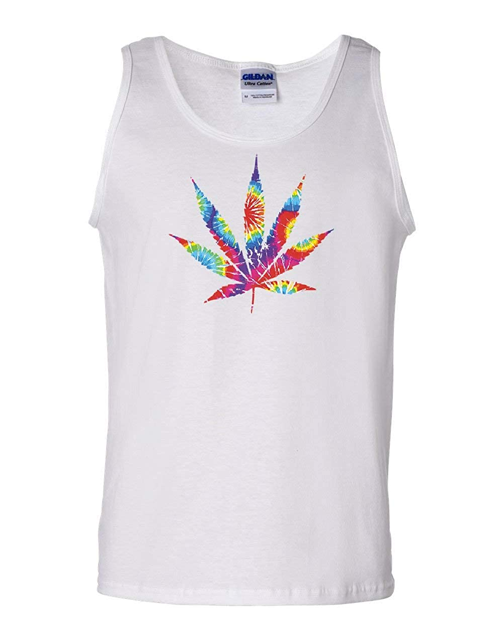 Tie Dye Pot Leaf Tank Top Smoking 420 Weed Cannabis Marijuana Sleeveless