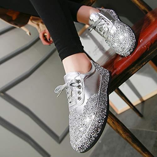 para Zapatos Zapatillas ZHZNVX Zapatos champán Brillo Zapatos y de Poliuretano Primavera de Negro Plata Verano Mujer Plano Punta Redonda Deporte de PU espumoso de Caminar tacón Champagne xXO7qwrZX