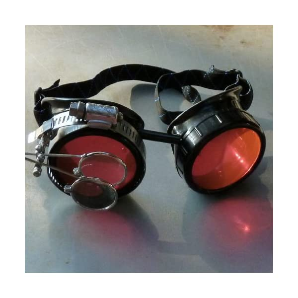 Steampunk Victorian Style Goggles with Vintage Design and Double Clip on eye Loupe 4
