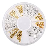 3D Nail Art Rhinestone Gold Silver Half Pearl Tip Decoration Manicure Wheel
