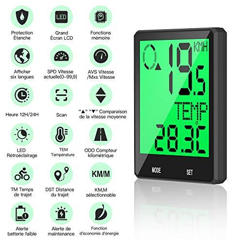 Fahrradcomputer Kabellos 6 Sprachoptionen, LCD-Display Wasserdicht Fahrradtacho, Multifunktion Fahrrad Computer Temperatur Kilometerzähler Geschwindigkeit und Halterung, Einfach zu Montieren Prumya