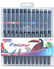 24 Colors Dual Tip Brush Pens with 0.4mm Fineliner & Fiber Brush Tip Art Markers Water Based Ink Color Pens Supplies for Children Students Adults Drawing Coloring Sketching Calligraphy