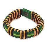 NOVICA Brass Men's Wristband Bracelet, 8.5'' 'Kente Riches'