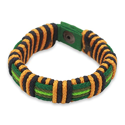 NOVICA Brass Men's Wristband Bracelet, 8.5'' 'Kente Riches' by NOVICA
