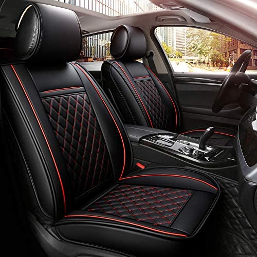 INCH EMPIRE Easy to Clean Car Seat Cushions Synthetic Leather – Universal Fit Car Seat Cover for Corolla Cruze Legacy Malibu Maxima Tacoma (Black with Red Line Full Set)