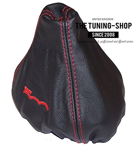 GEAR STICK GAITER BLACK LEATHER RED 500 EMBROIDERY