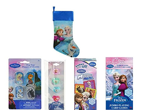 Disney Frozen Christmas Stocking Stuffer - Memory Match Game - Jumbo Playing Card Game - 4 Ring Set - 4 Piece Dog Tags And One Silk Stocking that you can hang from the fireplace (Frozen Gift Basket)