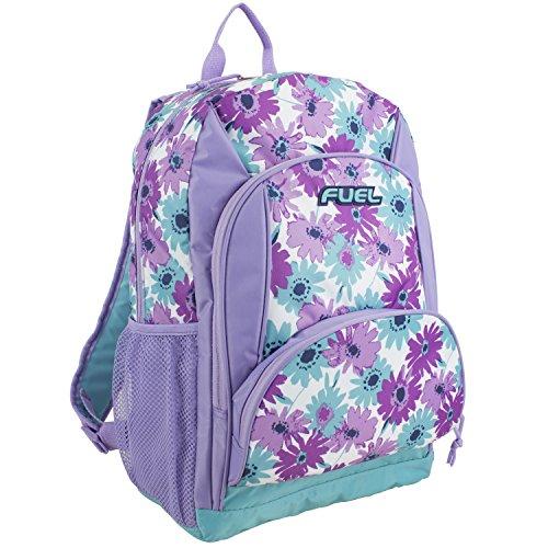 Fuel Multi Pocket Backpack with Fun Prints, Casual Daypack, Multipurpose Bag - Lavender/Mint Floral Print (Best Backpacks For Middle School 2019)