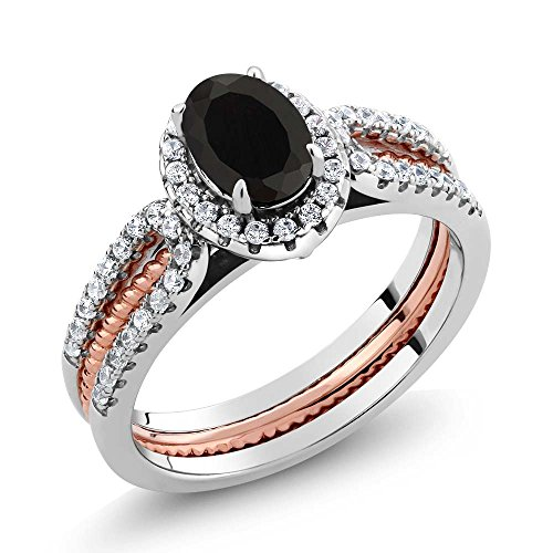 Gem Stone King 2-Tone 925 Sterling Silver Oval Black Onyx Wedding Band Insert Ring 1.42 cttw (Available 5,6,7,8,9) (Size 6)