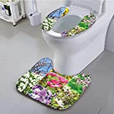 Philiphome Bathroom Contour Rugs Lilac Lavender Apricot and Peach Flower Blooms Serene Garden Theme Decorations Art Multi Health is Convenient