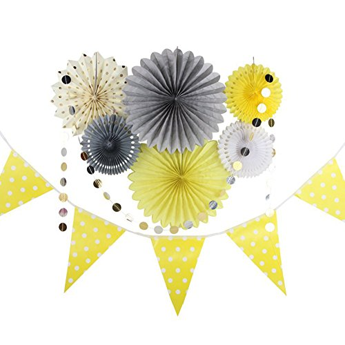 Grey Yellow Cream Party Decor Kit Tissue Paper Fan Bunting Banner Circle Dot Garland Baby Shower Birthday Wedding Party Home Decoration -